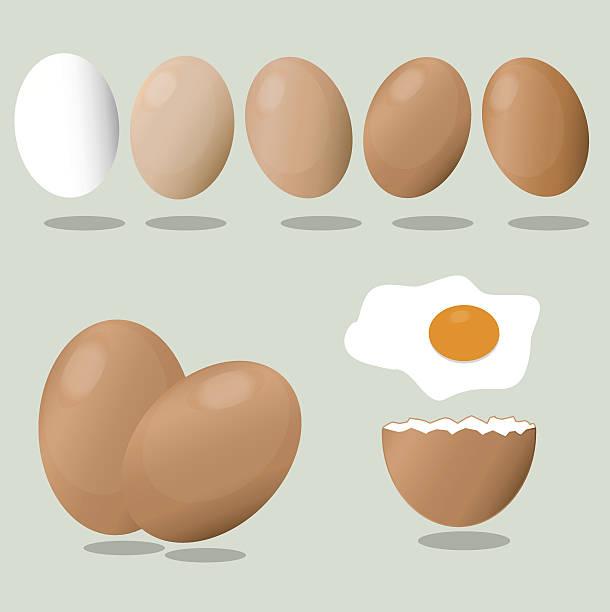 eggs on a blue background. crack eggs. - eizelle stock-grafiken, -clipart, -cartoons und -symbole