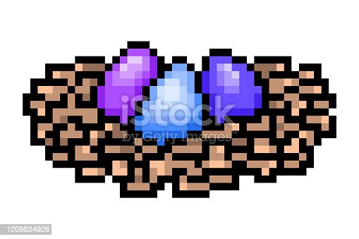 istock 3 eggs painted blue, violet, purple in a bird nest, pixel art icon isolated on white background. 8 bit Easter symbol. Old school vintage retro slot machine/video game graphics. 1209834926