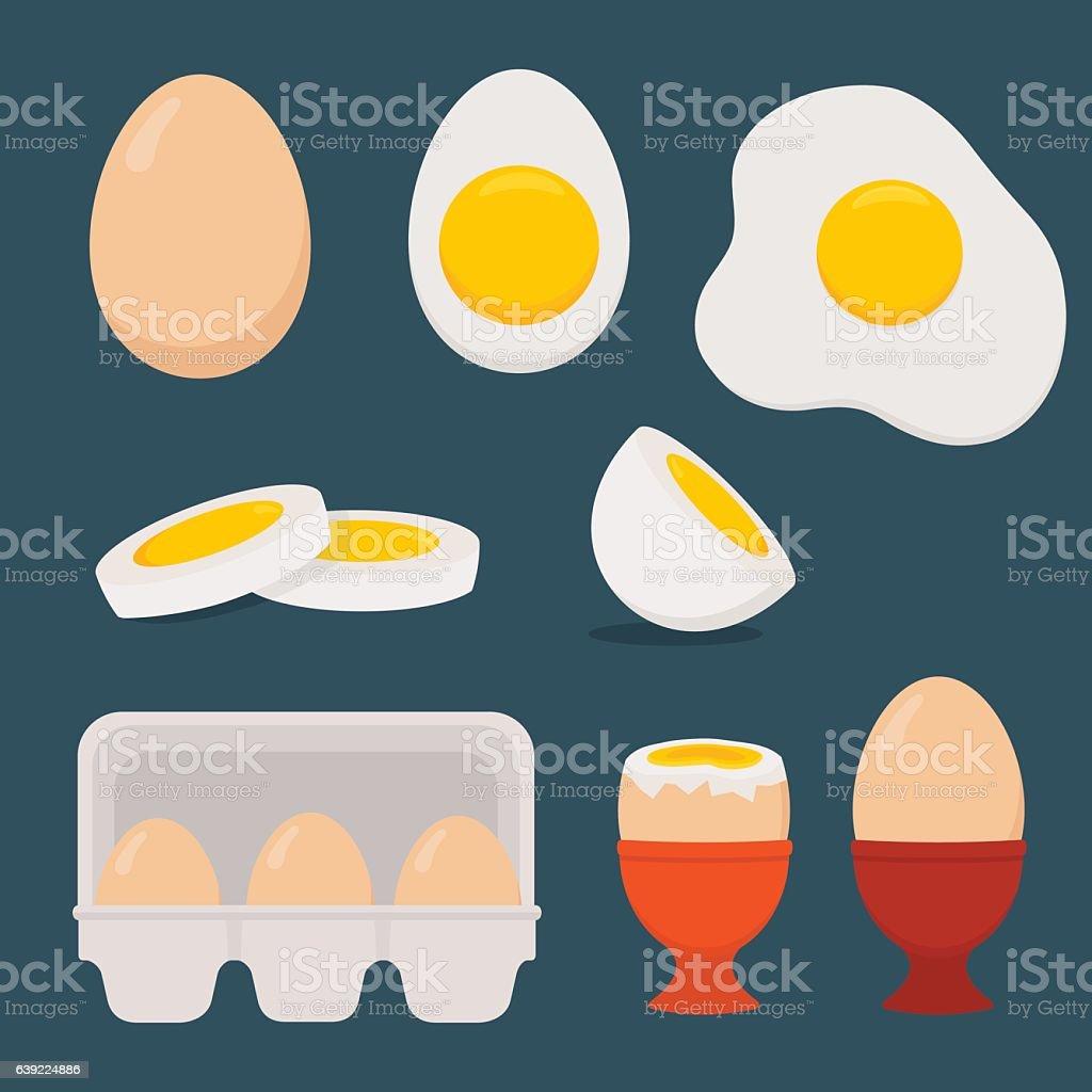 Eggs set isolated on dark blue background.