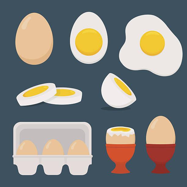 Eggs set isolated on dark blue background. Eggs set isolated on dark blue background. Vector illustration. Flat design.  egg stock illustrations