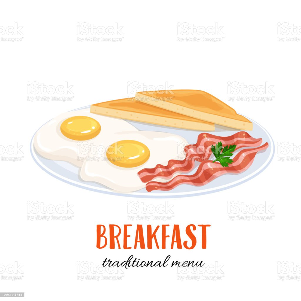 eggs with bacon and toast vector art illustration