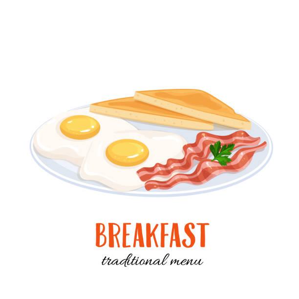 eiern mit speck und toast - spiegelei stock-grafiken, -clipart, -cartoons und -symbole