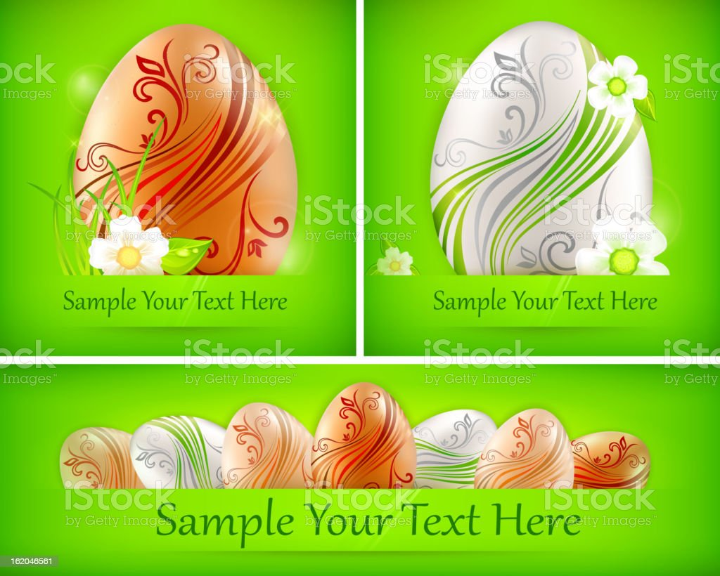 Eggs with flowers on green & text royalty-free stock vector art