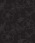 Eglantine Black and White Seamless Repeat Vector Floral Pattern