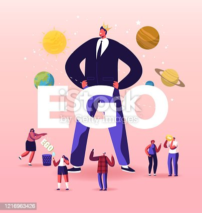 Ego, Narcissistic Self Love Behavior Concept. People Characters around of Egocentric Macho Man Wearing Crown on Head. Psychological Disorder Symptom Poster Banner Flyer Cartoon Vector Illustration