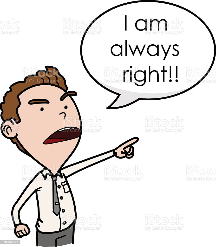 Egoist, Arrogant, and Stubborn Boss vector art illustration