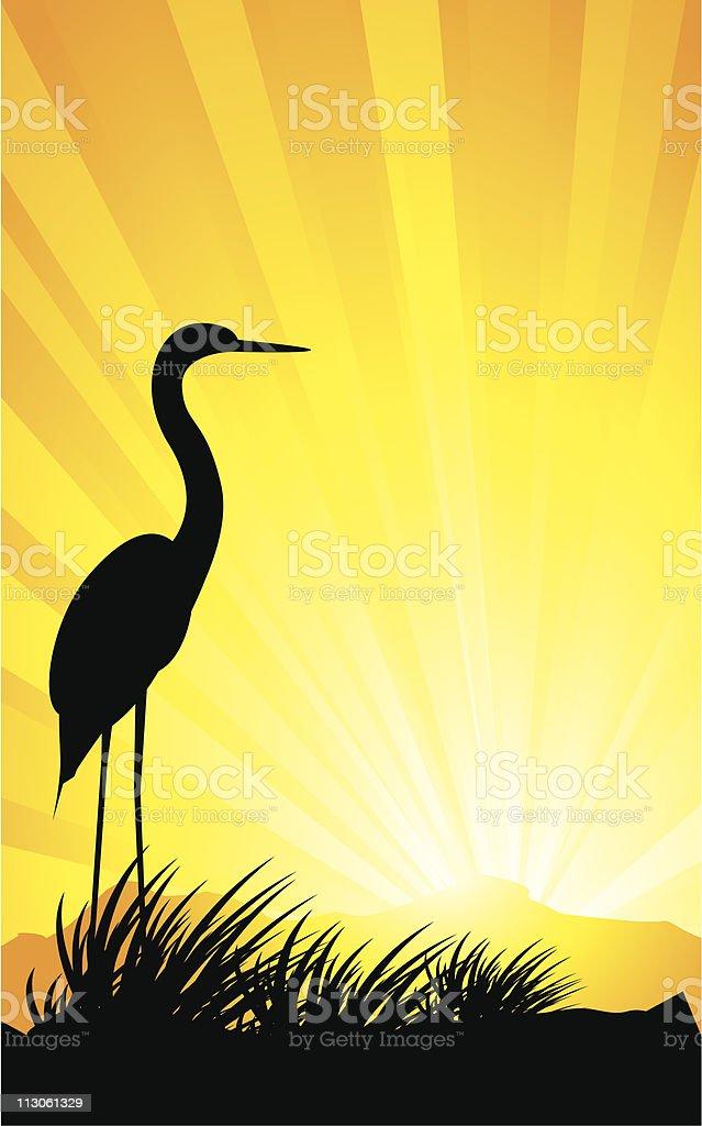 egret silhouette design stock vector art more images of animal