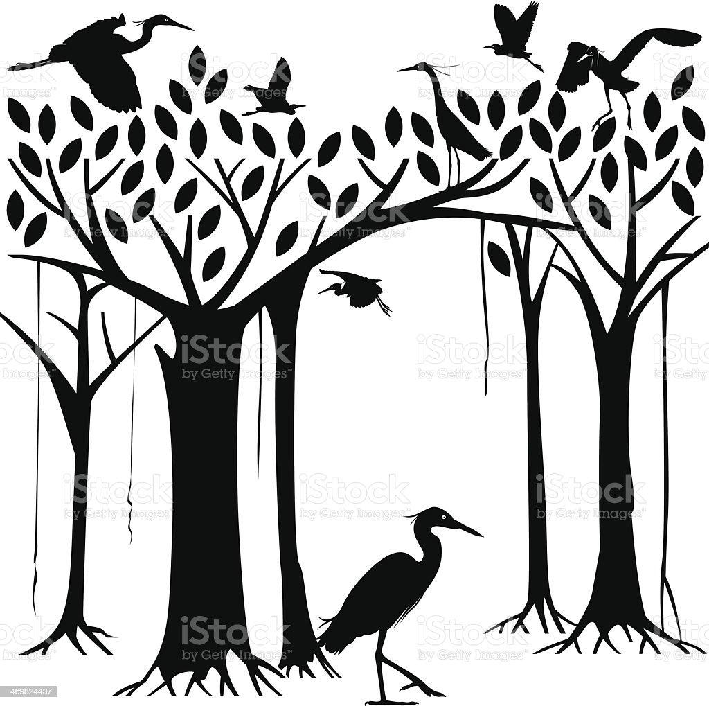 Egrets and banyan tree forest vector art illustration