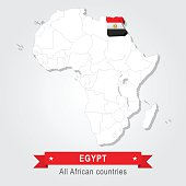 Egypt. All the countries of Africa. Flag version.