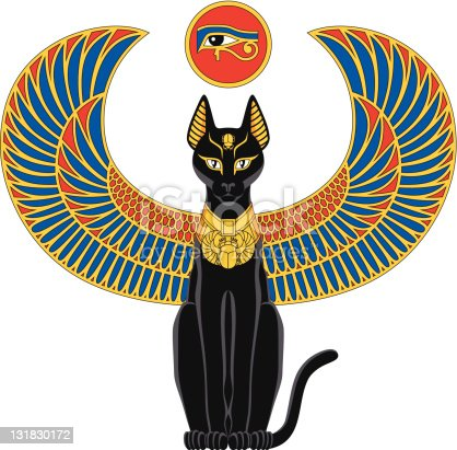 Illustration of egyptian cat with wings isolated on white.