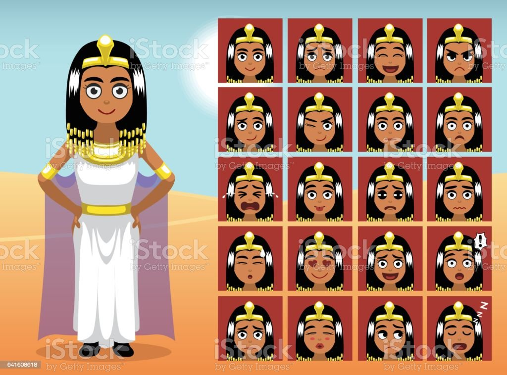 Egypt Cleopatra Cartoon Emotion faces Vector Illustration vector art illustration