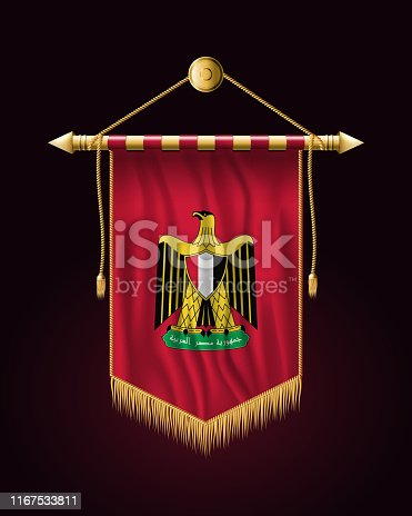 Egypt. Coat of Arms. Festive Vertical Banner. Wall Hangings with Gold Tassel Fringing