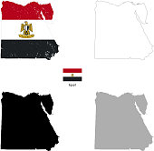 Egypt country black silhouette and with flag on background, isolated on white