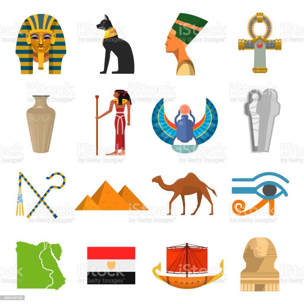Egypt culture set vector art illustration