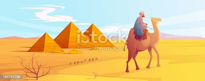 istock Egypt desert landscape with pyramids and camels 1347412361
