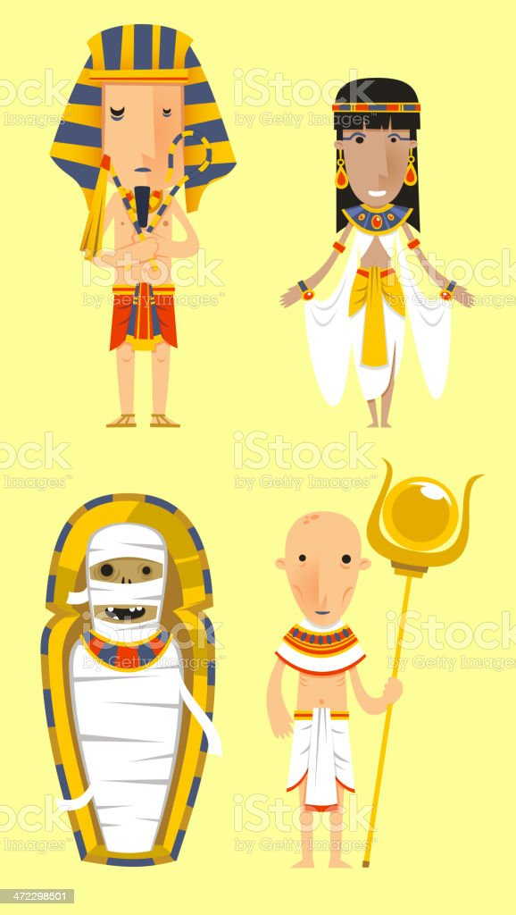 Egypt Egyptian People Pharaoh Caduceo Clothes royalty-free stock vector art