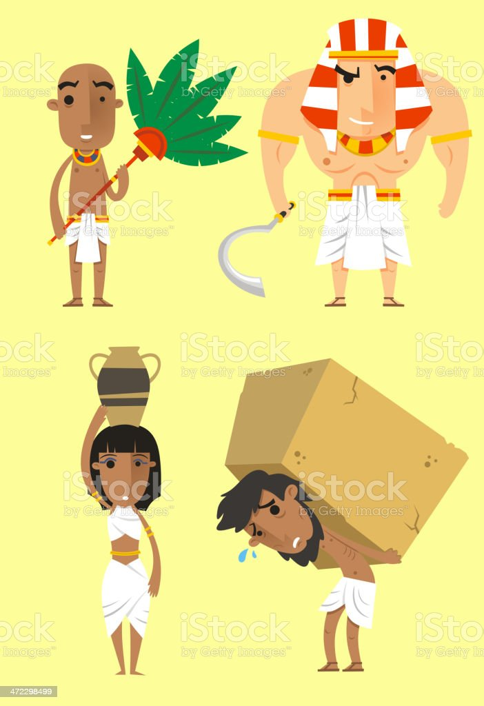 Egypt Egyptian People Pharaoh Woman Man Strength vector art illustration