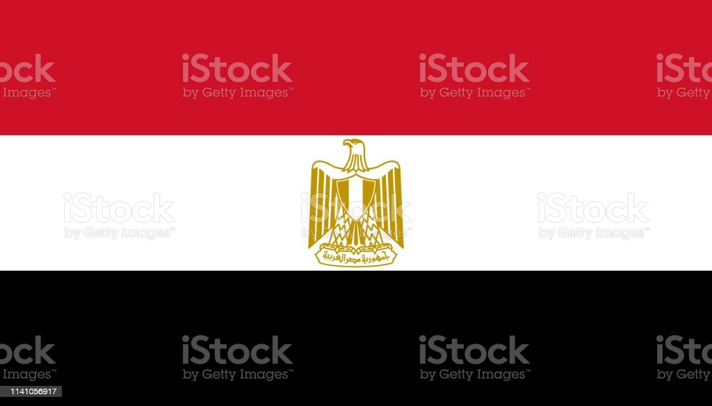 Egypt flag icon in flat style. National sign vector illustration. Politic business concept.