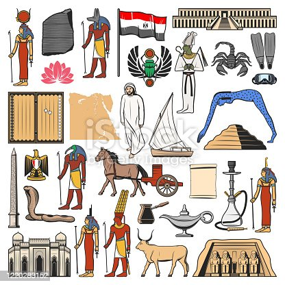 Egypt vector icons with ancient Egyptian travel landmarks, religion and culture symbols. Flag and map of Egypt, pharaoh pyramid, sacred Gods and temples, eagle coat of arms, scarab and felucca boat