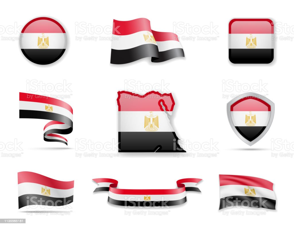 Egypt flags collection. Vector illustration set flags and outline of the country.