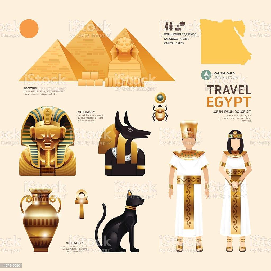 Egypt Flat Icons Design Travel Concept.Vector vector art illustration