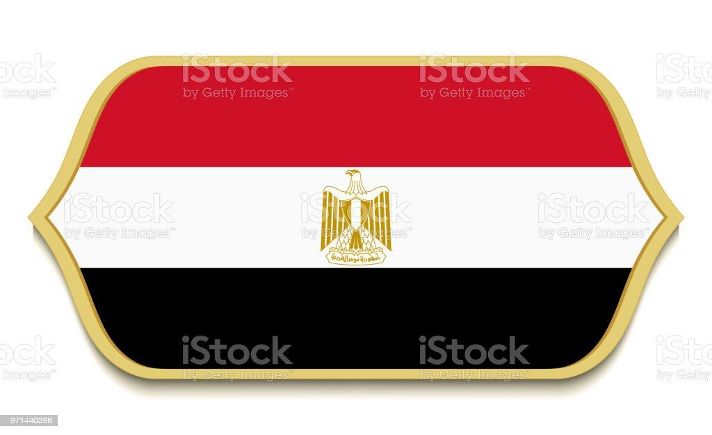 Egypt Flat National Flag Icon Button Egyptian Symbol Isolated On