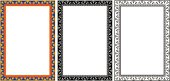 Egyptian frame with papyrus in colour and monochrome isolated on white.