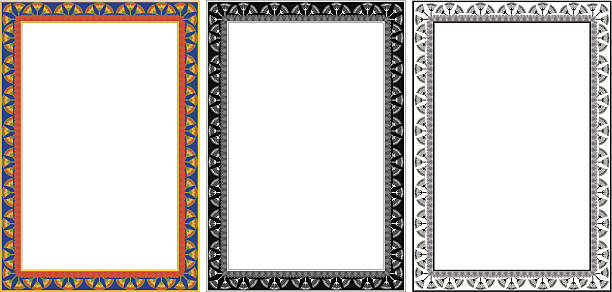 Egypt Frame Egyptian frame with papyrus in colour and monochrome isolated on white. egyptian culture stock illustrations