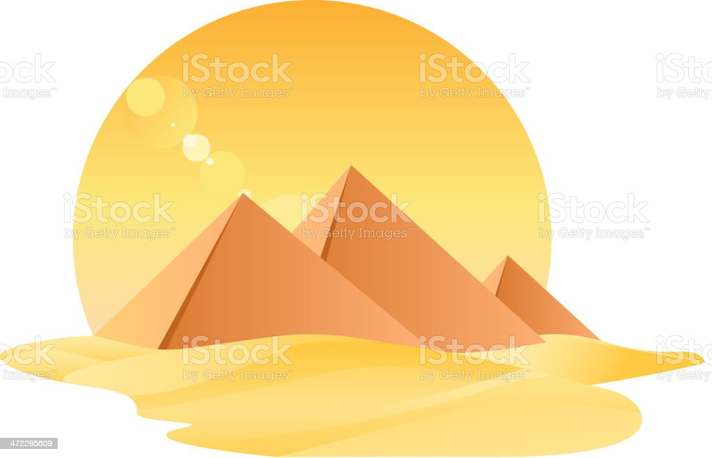 Egypt Great Pyramids Egyptology With Sand and Sun vector art illustration