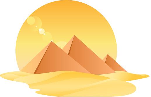 Египет Великие Пирамиды Egyptology С Песок И Солнце — стоковая векторная графика и другие изображения на тему Археология