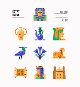 Egypt icon set 3. Include pharaoh, sphinx, cleopatra and more. Flat icons Design. vector