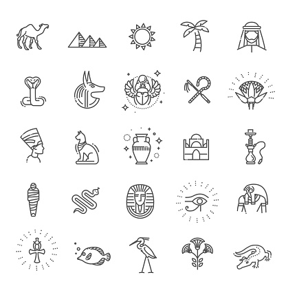 Egypt icons and design elements isolated.