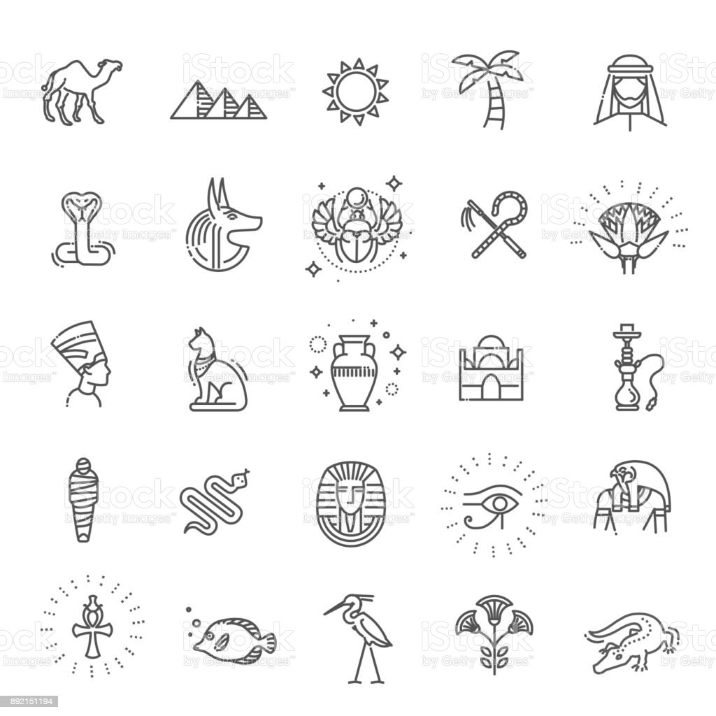 Egypt icons and design elements isolated. vector art illustration