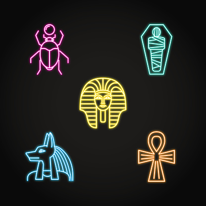 Egypt icons set in neon line style