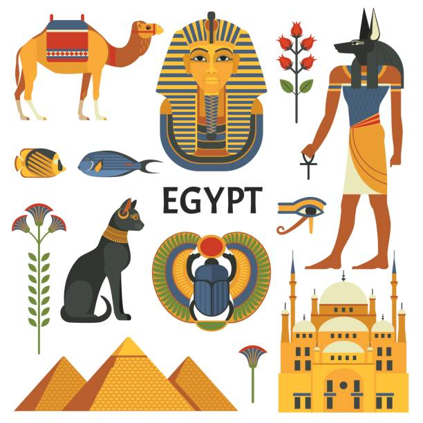 Egypt icons set. Vector collection of Egyptian culture and nature images, including pyramids, Anubis, Bastet, camel, Tutankhamen, scarab and mosque. Isolated on white. egypt stock illustrations