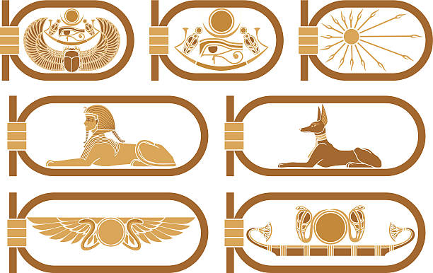 Egypt Icons Egyptian icons with scarab, snakes, sun boat, sphinx and Anubis in cartouches. egyptian culture stock illustrations