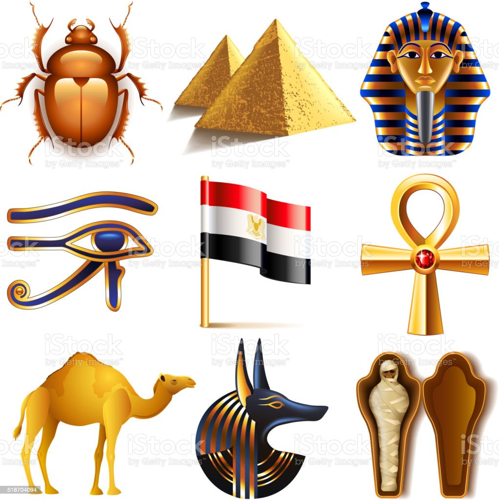 Egypt icons vector set vector art illustration