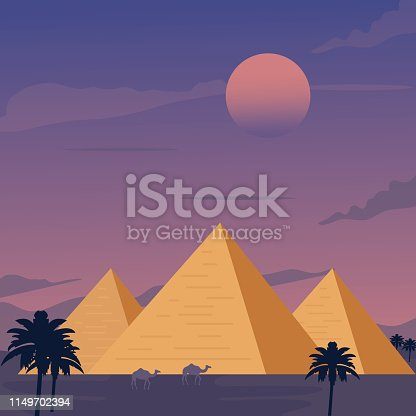 Egypt, Desert, Pyramid, Camel, Cartoon