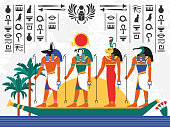 Egypt flat colorful poster with ancient egyptian gods in papyrus boat on hieroglyph background flat vector illustration