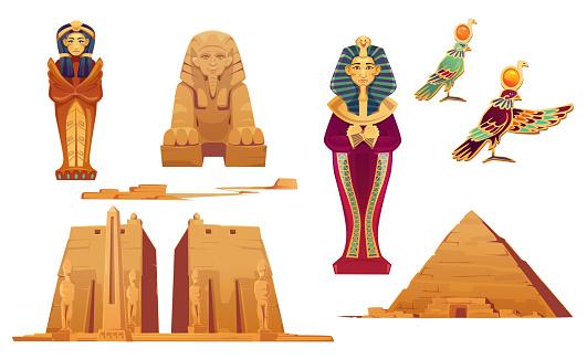 Egypt landmarks and ancient egyptian deities set