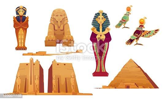 Egypt landmarks and deities set. Ancient egyptian pyramid, sphinx, pharaoh sarcophagus, world famous Obelisk in Temple of Karnak, god Ra. Tourist attraction architecture, Cartoon vector illustration