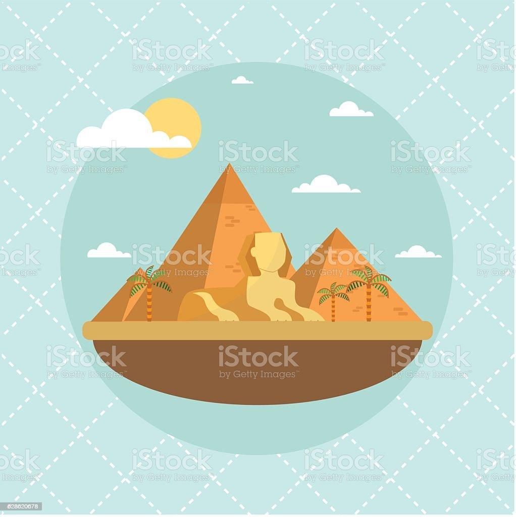 Egypt landmarks and travel place.Vector illustration vector art illustration