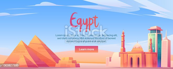 Egypt landmarks cartoon banner, Cairo city world famous pyramids, tower, mosque in desert. Tourist architecture buildings ancient and modern historical touristic african attraction vector illustration