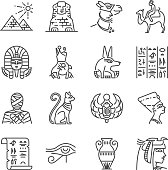 Egypt line icon set. Included the icons as Pharaoh, pyramid, mummy, Anubis, Camel and more.