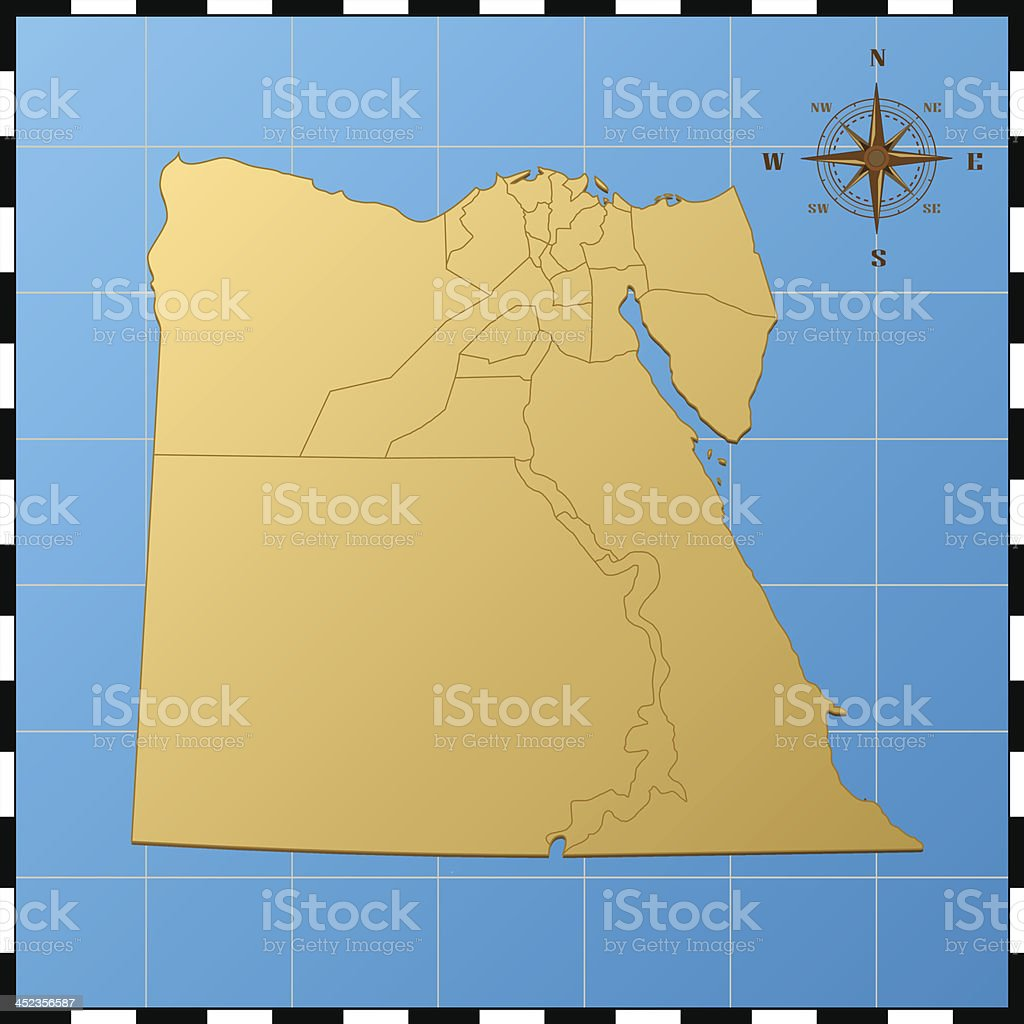 Egypt Map Compass Rose Stock Vector Art IStock - Map of egypt vector free