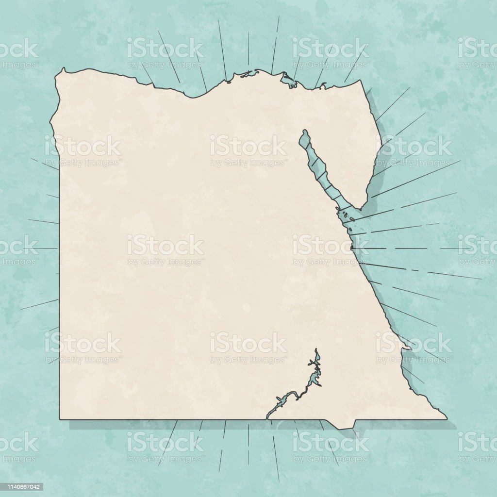 Map of Egypt in a trendy vintage style. Beautiful retro illustration...