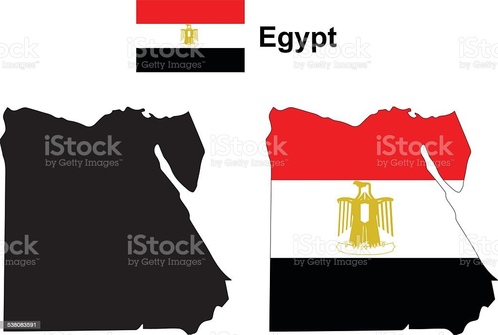 Egypt map vector, Egypt flag vector