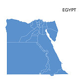 Vector illustration of the map of Egypt
