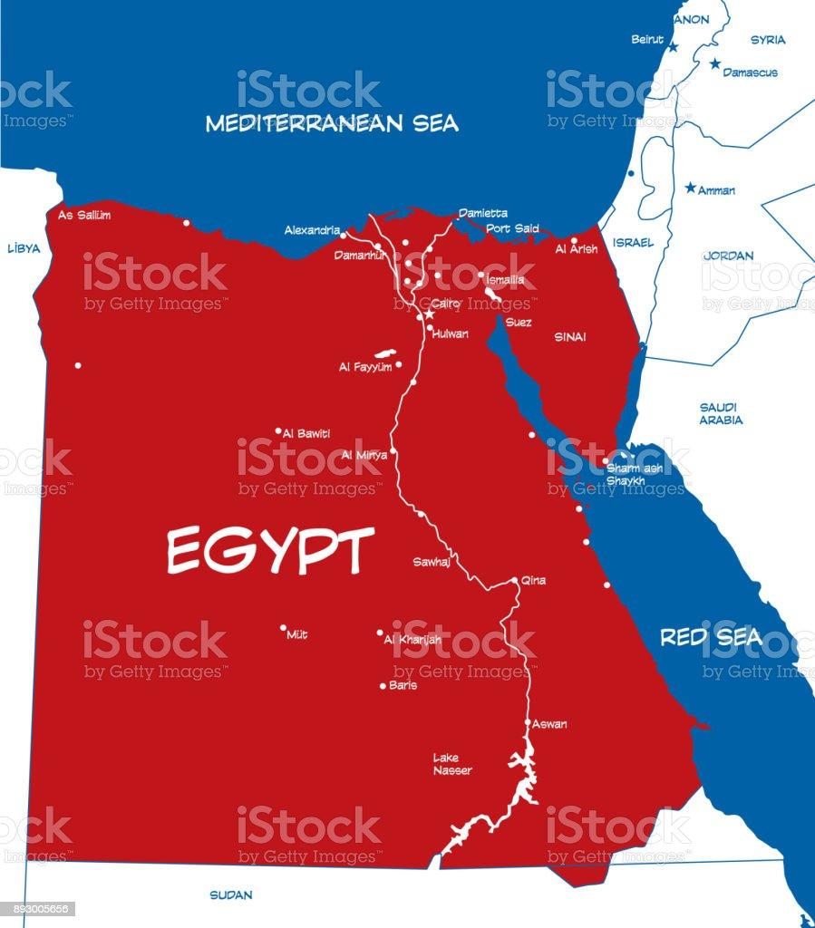 Egypt Map Stock Vector Art More Images of Africa 893005656 iStock