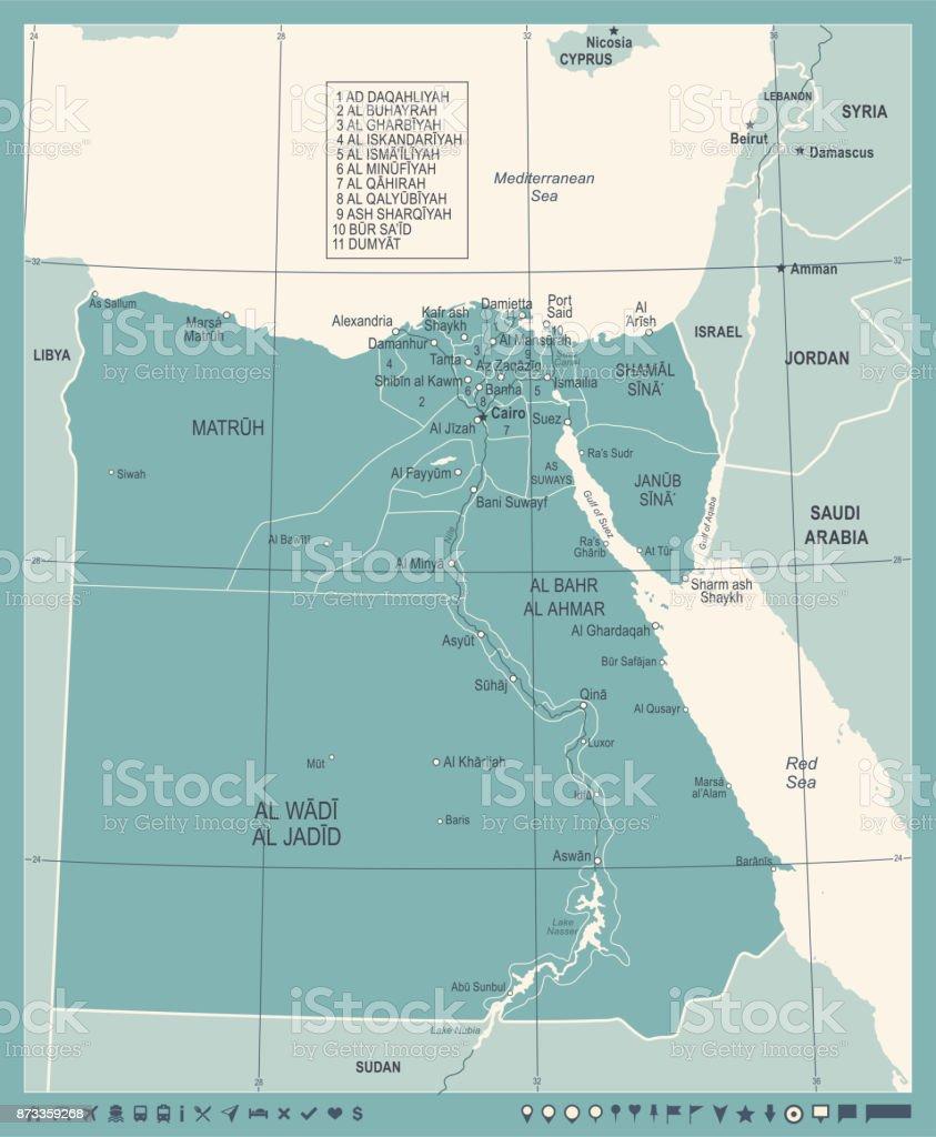 Alexandria Egypt World Map.Egypt Map Vintage Detailed Vector Illustration Stock Vector Art
